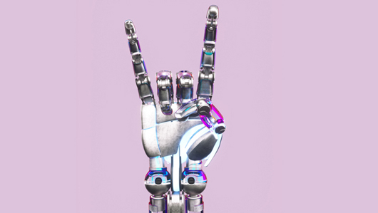 A hand of a robot shows the peace sign. : How we look into the future