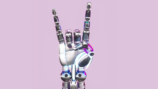 Die Hand eines Roboters zeigt das Friedenszeichen. Öffnet Seite: : Wie wir in die Zukunft blicken