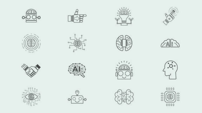 Icons on the topic of AI in the working world