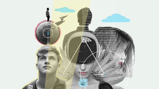 Photo collage about artificial intelligence.