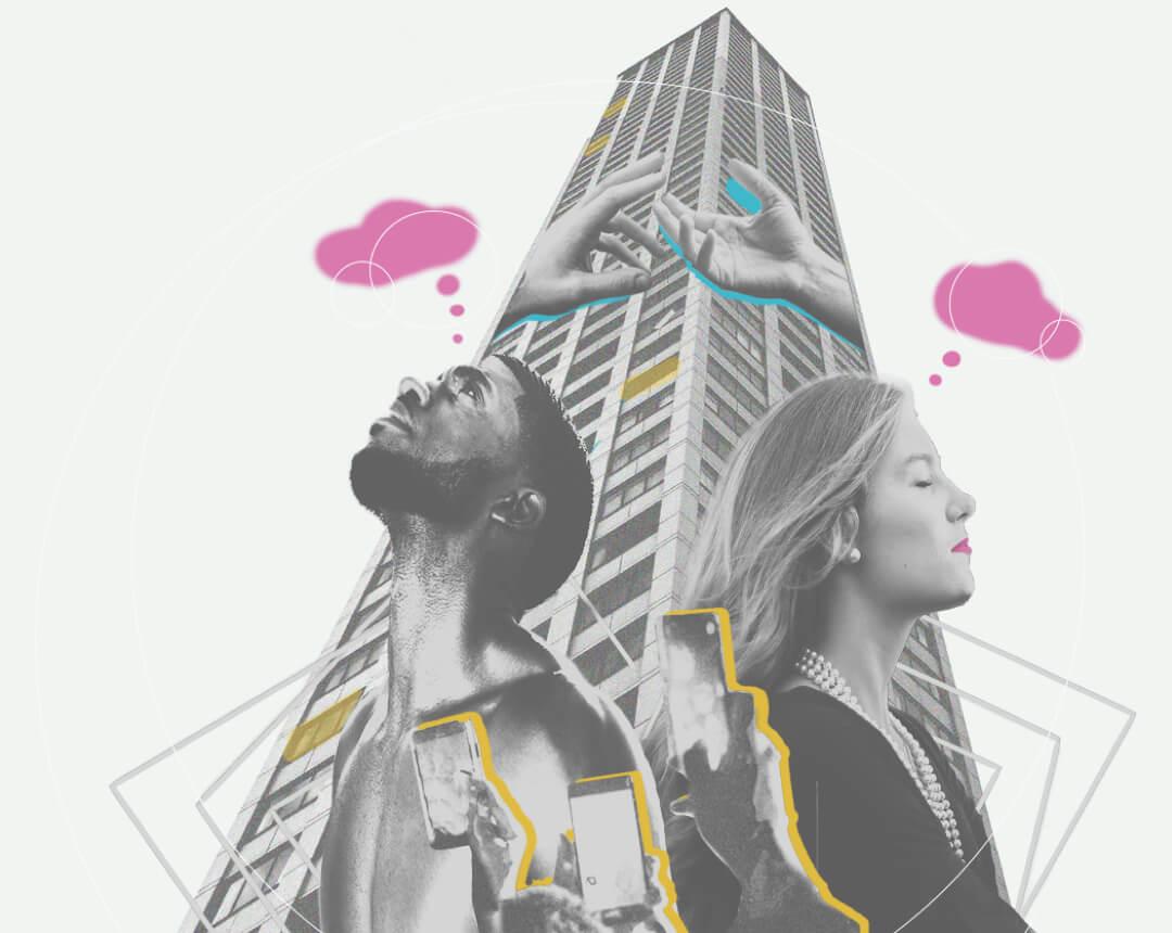 Collage mit einem Mann und einer Frau die nachdenken und ein Wolkenkratzer dazwischen.