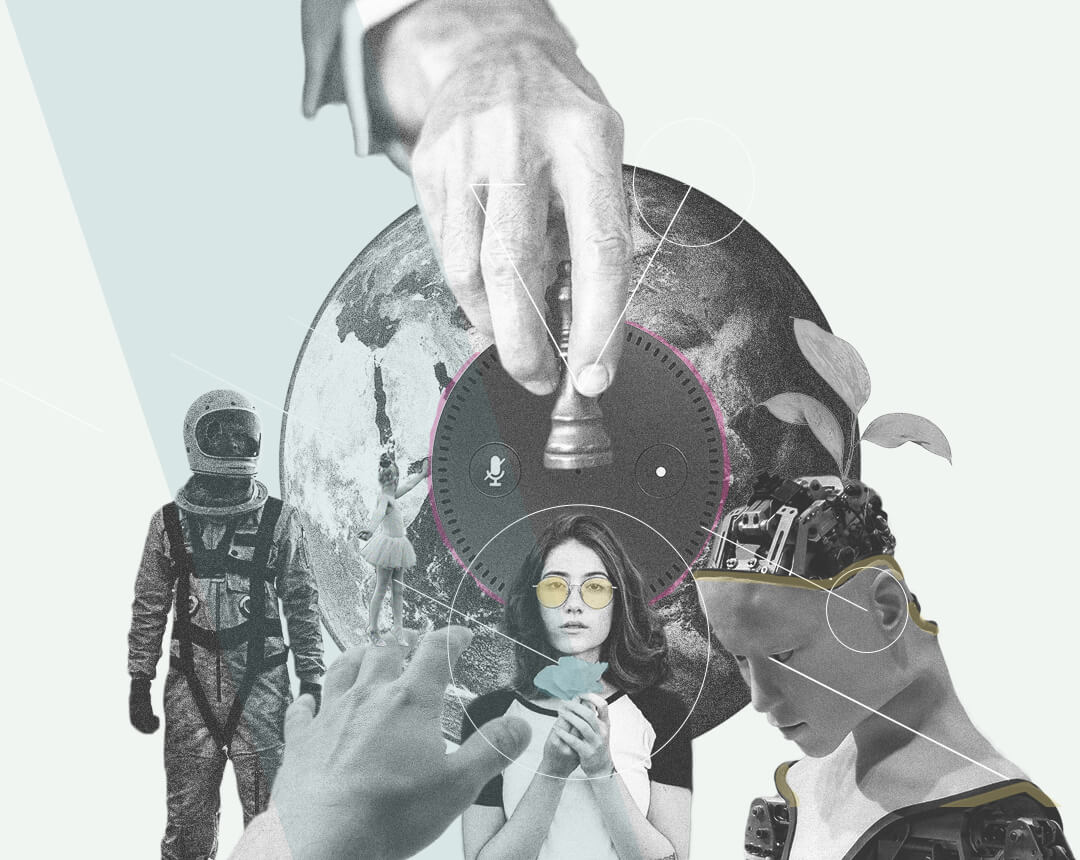 Collage von der Weltkugel, einer Schachfigur und Personen.