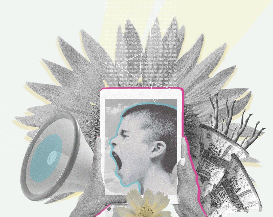 Collage: Ein Bild von einem schreienden Jungen auf einem Tablet, davor ein Megaphon.