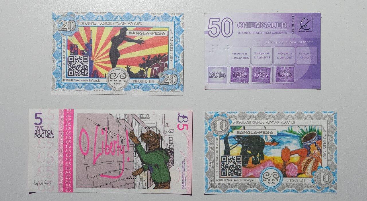 Diverses Regionalgeld aus aller Welt
