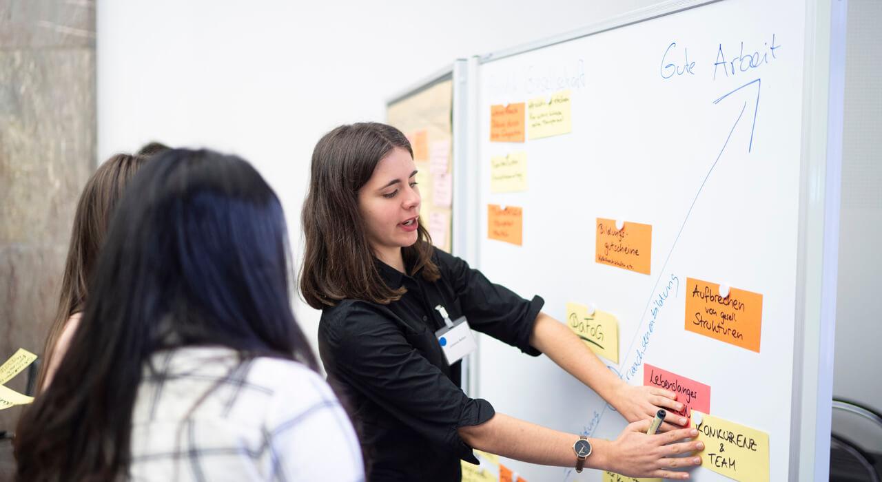 Teilnehmerinnen kleben Notizzettel auf ein Flipchart