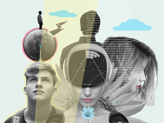 Collage on the topic of artificial intelligence