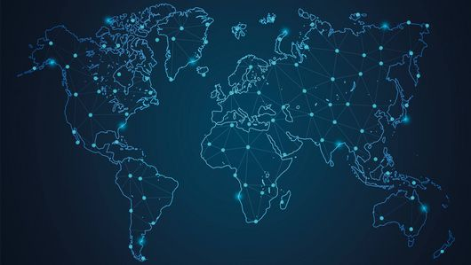 A drawing of a map of the world at night with luminous dots on it. : The experts from the Global Partnership on AI