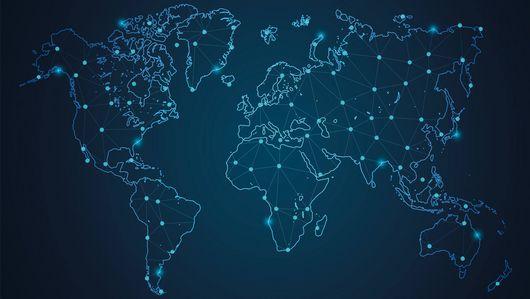 Die Zeichnung einer Weltkarte bei Nacht mit leuchtenden Punkten darauf. Öffnet Seite: : Die Expert*innen der Global Partnership on AI