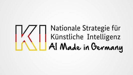 Logo KI Nationale Strategie für Künstliche Intelligenz. AI Made in Germany. Öffnet Seite: : Die KI-Strategie und die Maßnahmen im BMAS