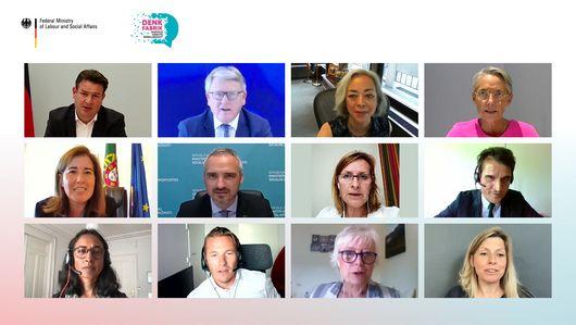 Ein Ausschnitt aus dem virtuellen Dialog zeigt Bilder-Kacheln von Hubertus Heil und einigen Teilnehmenden.. Öffnet Seite: : Plattformökonomie global denken