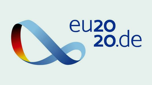 Logo of the EU2020. : Creating a new working world in Europe together