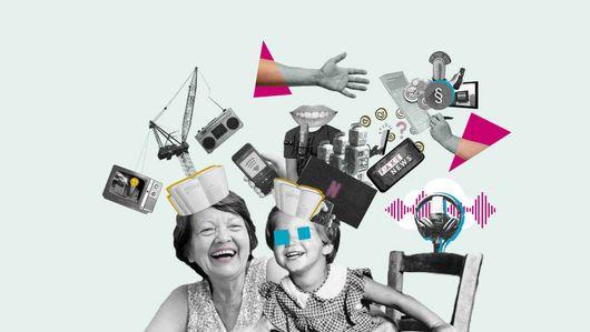 Collage zum Thema Medien. Öffnet Seite: Nachtschicht: Diskussion zum Schwerpunkt Medien